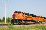 BNSF 9165 leads coal MTs train 811 toward the end of the M&P branch