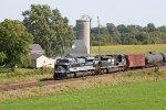 NS 1070 Wabash heritage unit passing a farm near Sauer Road
