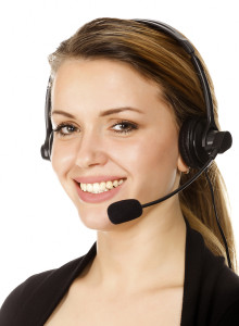 Beautiful customer service operator woman with headset, isolated