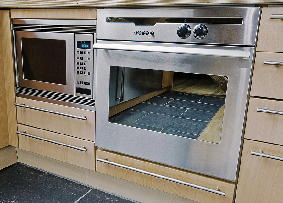 modern built in kitchen appliances in stainless steel