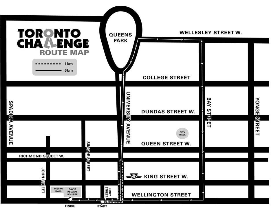 Toronto challenge route map