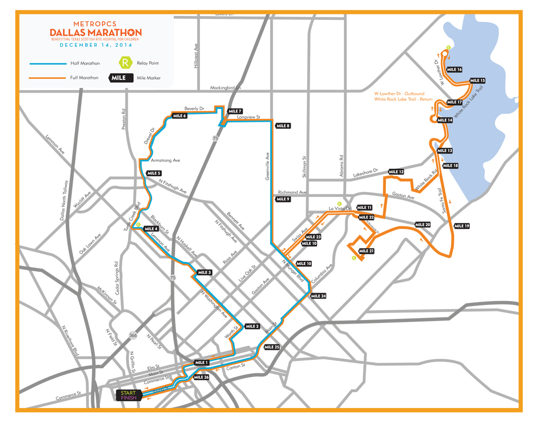 Metropcsdallasmarathon 2014 course map