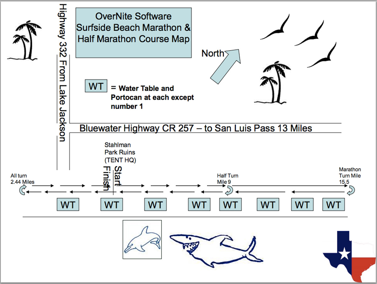 Surfside beach half marathon course map 1