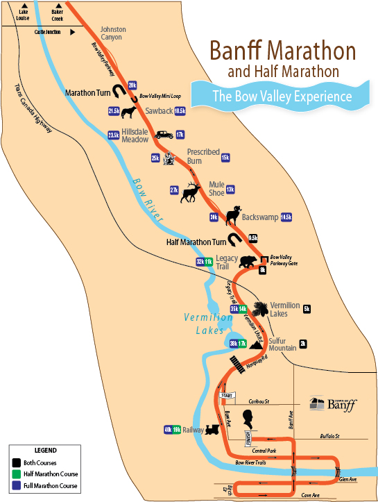Banff marathon course map