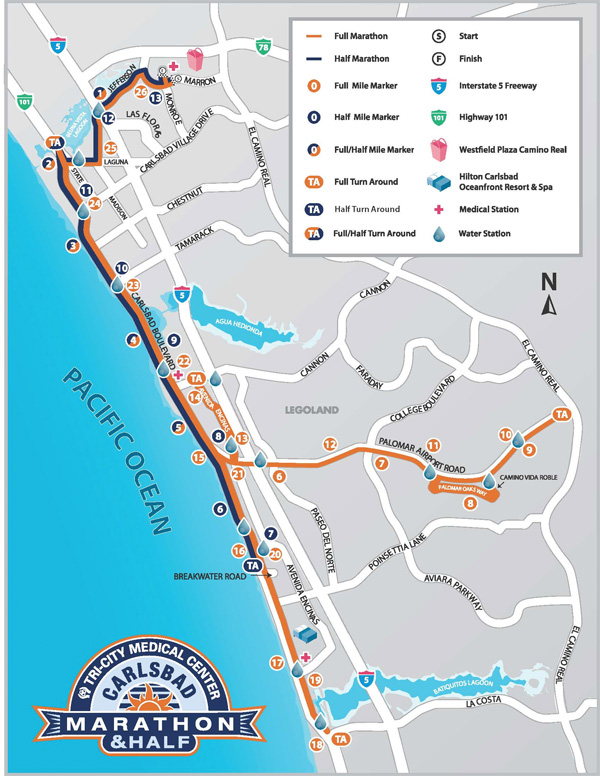 Carlsbad marathon and half course map