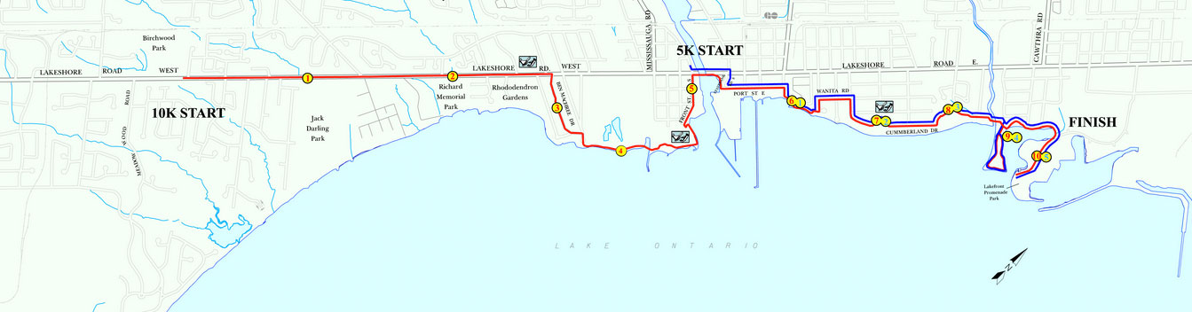 Mississauga marathon 10k and 5k course map