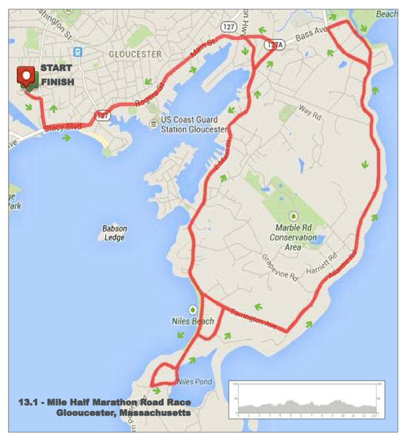 Twin lobster half marathon course map