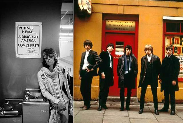 Keith Richards Patience Please, 1972 by Ethan Russell; The Rolling Stones, Tin Pan Alley, 1963 by Terry O'Neill.