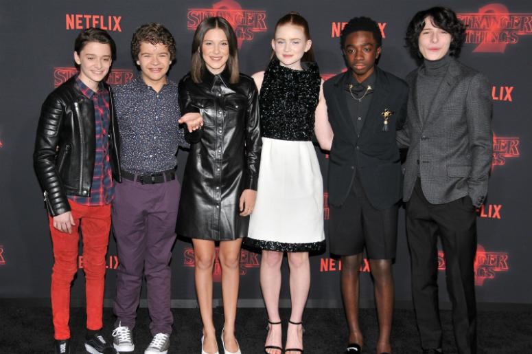 """""""Stranger Things 2"""" Cast - Noah Schnapps, Gaten Matarazzo, Millie Bobby Brown, Sadie Sing, Caleb McLaughlin and Winn Wolfard arrives at Netflix's """"Stranger Things 2"""" Premiere held at Westwood Village Theater in Westwood, CA on Thursday, October 26, 2017."""