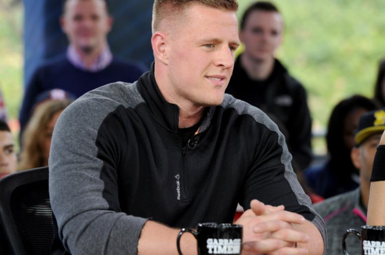 "JJ Watt on Fox Sports ""Garbage Time with Katie Nolan"" broadcasting from Super Bowl LI on February 3, 2017 in Houston, Texas."