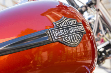 Harley Davidson logo is displayed on a motorcycles fuel tank on June 06, 2015 in Bucharest, Romania.