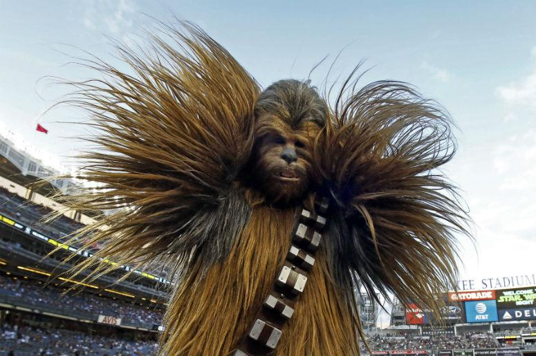 "Chewbacca participates in ""Star Wars"" night prior to the Seattle Mariners taking on the New York Yankees at Yankee Stadium"