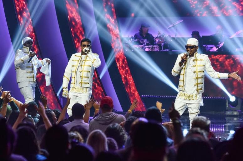 "K-Ci, JoJo and Dalvin of Jodeci onstage at ""Showtime at the Apollo"" at the Apollo Theater on November 30, 2016 in New York City."