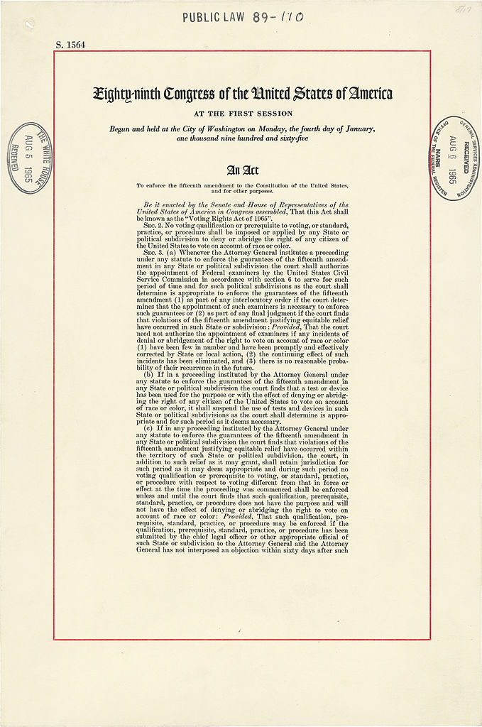 First page of the Voting Rights Act