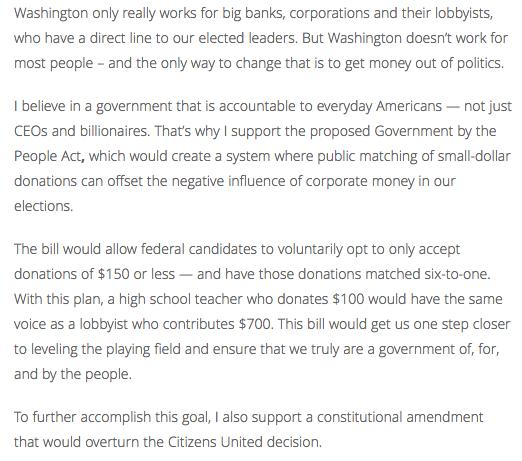 Ruben Gallego Campaign Finance Reform on Website pt 2
