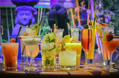 Colorful cocktails on bar