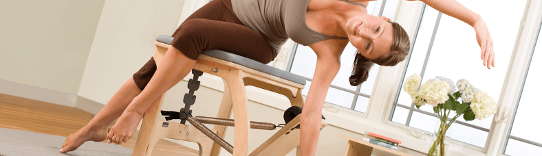 Woman working out on chair