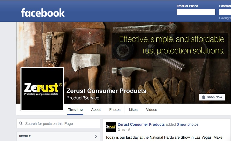 Screenshot of Zerust Consumer Products Facebook page