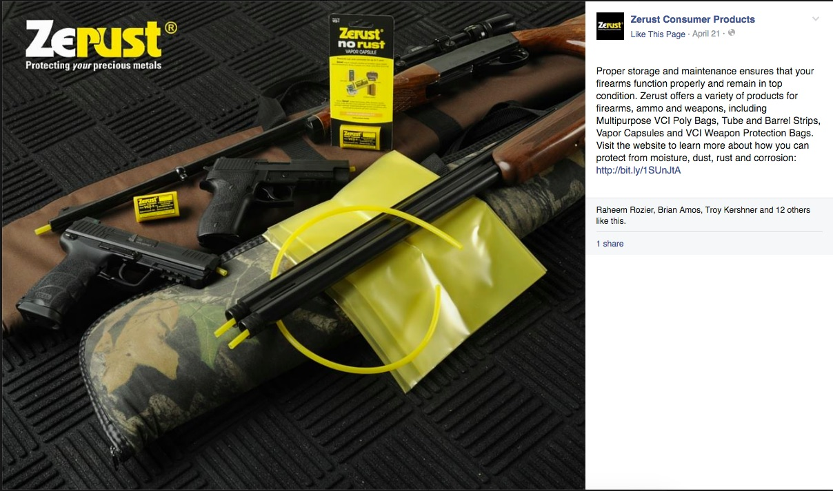 Four firearms with an array of Zerust products