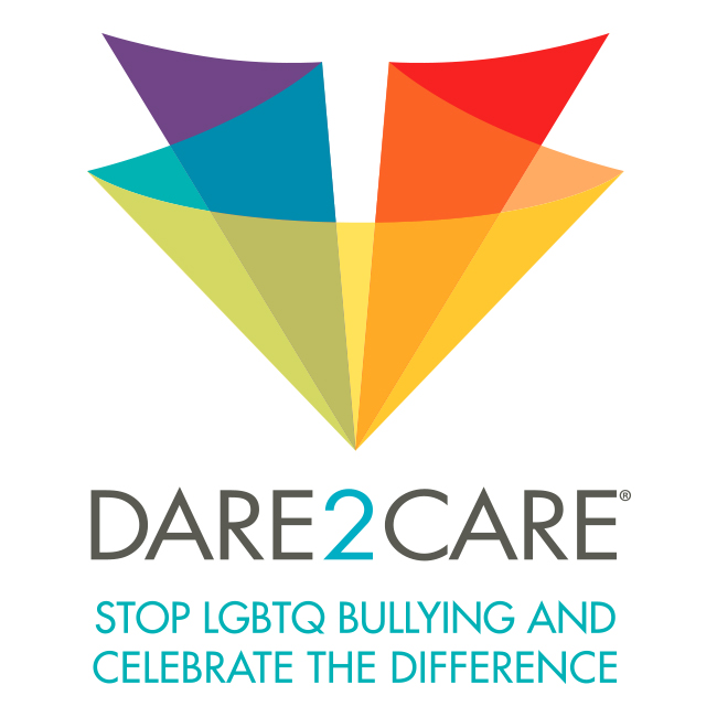 Dare2Care logo with LGBTQ colors