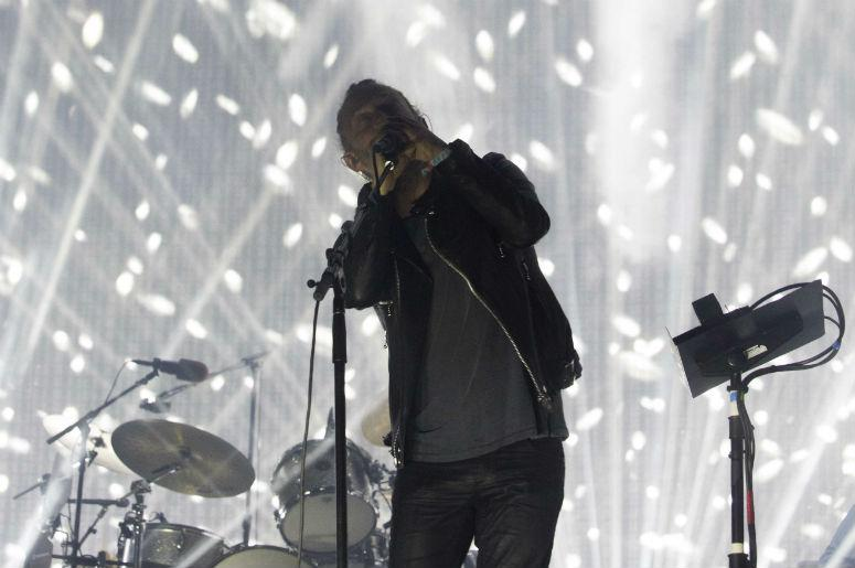 Thom Yorke of Radiohead performs on the Coachella Stage during the Coachella Valley Music and Arts Festival at Empire Polo Club