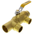 "1-1/4"" x 1"" Pro-Pal Full Port Brass Ball Valve w/ Reversible Handle, Primary/Secondary Loop Purge Tee (600 WOG)"