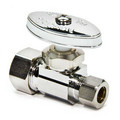 "1/2"" Nom. Compr. x 3/8"" O.D. Compr. Straight Stop Valve, Lead Free (Chrome Plated)"