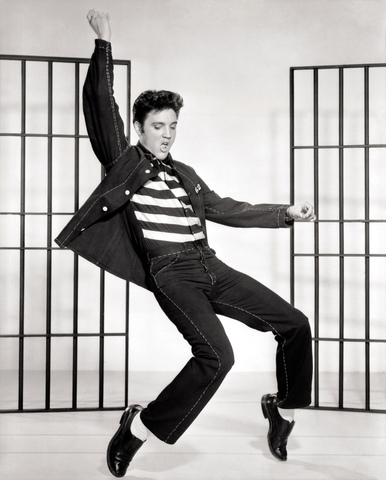 Elvis Presley and his famous dance the pelvic thrust.