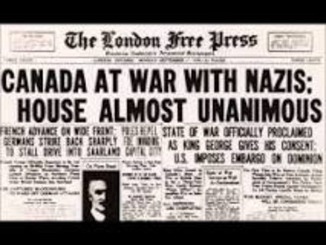 Canada declares war on Germany