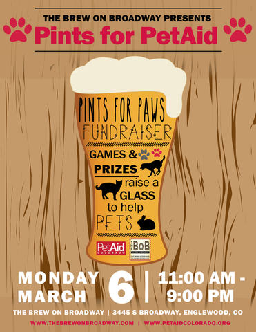 Pints For PetAid At The BoB On March 6!