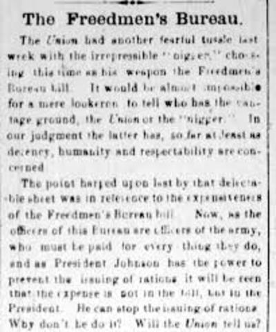 freedmens bureau act of 1865 essay Excerpt from essay : civil war freedmen: freedmen's bureau records in the aftermath in the years following the american civil war, fought between 1961 and1965, many freedmen lost their homes, got separated from their families, and lost all claim to the little property they had.