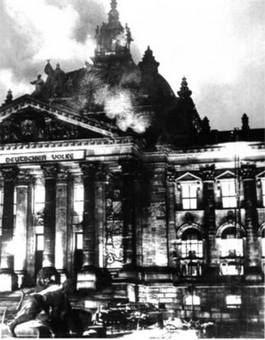 The German Reichstag burns.
