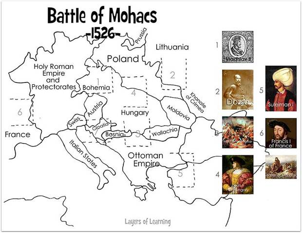 The battle of Mohace in 1526