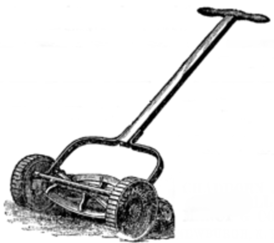 In 1870 Elwood McGuire designed a walk behind pushmower