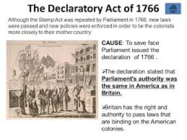 an analysis of the americas declaratory act of 1766 The stamp act was a tax put on the american colonies government repealed the stamp act on the 18th march 1766 declaratory act stated that the.