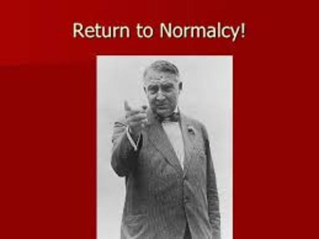 President Harding Return To Normalcy