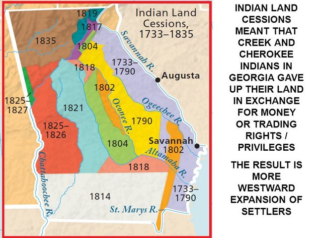 (1827) All Creek Indian lands ceded to Georgia.