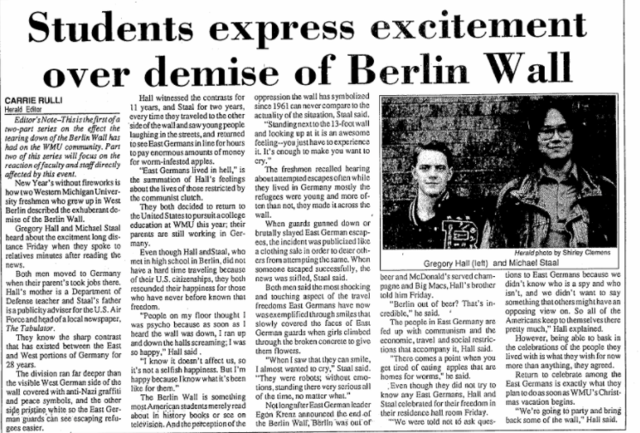 Cold War; the Berlin Wall Falls