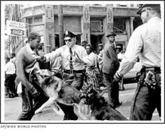 Bull Connors Birmingham police attack on crowds of young black protesters with dogs an firehoses