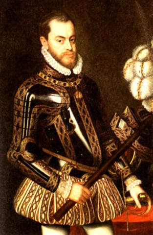 Philip II becomes king of Spain