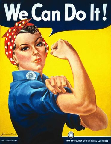 """Rosie the Riveter"" appears on the cover of the Saturday Evening Post as a tribute to working women during the War"