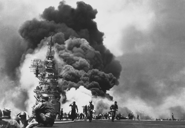 Japanese navy defeated at Leyte Gulf; first use of Kamikazes by Japan