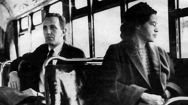 Rosa Parks refuses to give up her seat.