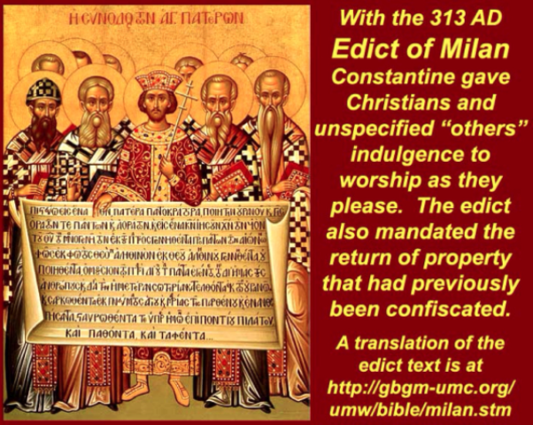 The Edict of Milan is Issued by Constantine