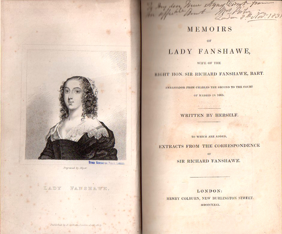 Publishing of Memoirs by Lady Anne Fanshawe