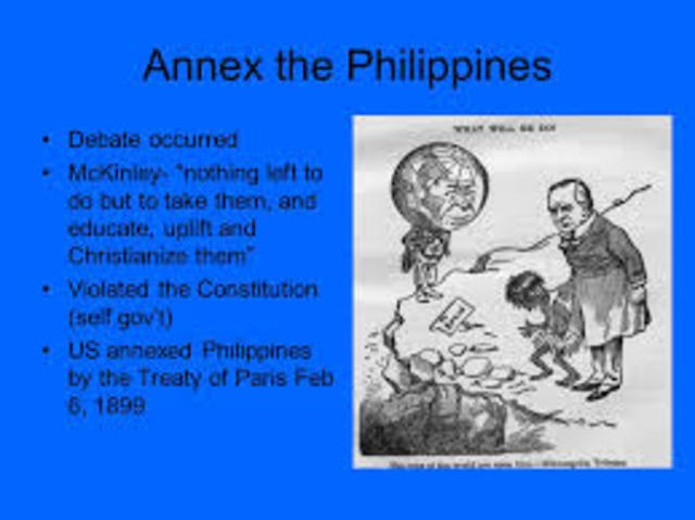 annexed the philippines Surrendered the philippines to the united states for a payment of twenty million dollars specifics of the cession of the philippines were later clarified by the 1900 treaty of washington the boundary line between the philippines and north borneo was further clarified by the convention between the united states and great britain (1930).