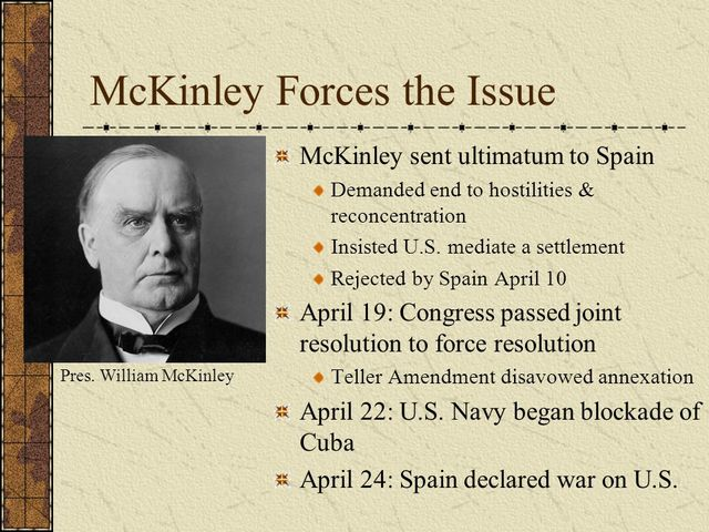 McKinley Sends An Ultimatum