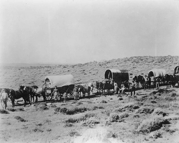 The first wagon train departs from Missouri and Iowa.
