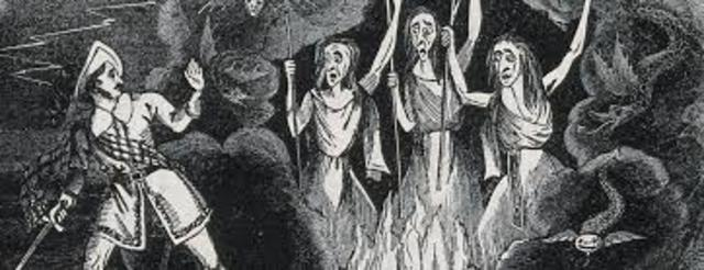 Macbeth is given the prophecies by the witches