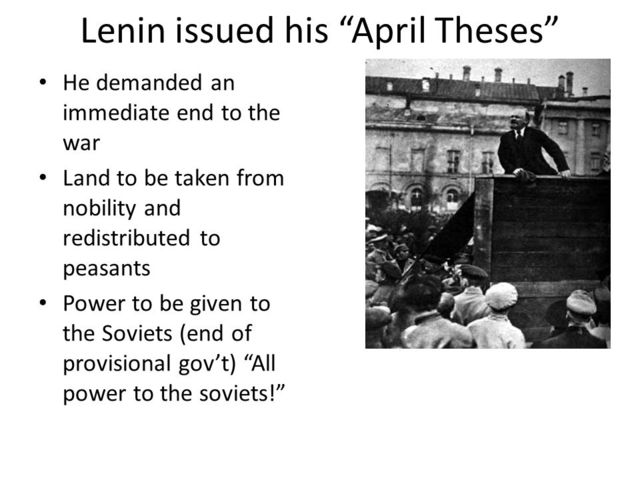 Lenin issues his April Theses